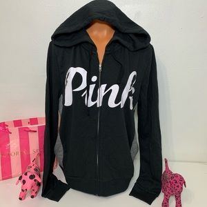 PINK VS FULL ZIP HOODED EVERYDAY LOUNGE SWEATSHIRT